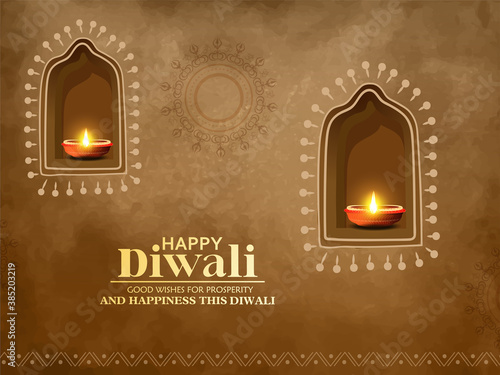 Fotografie, Obraz Creative design for Happy Diwali , Diwali festival with oil lamp