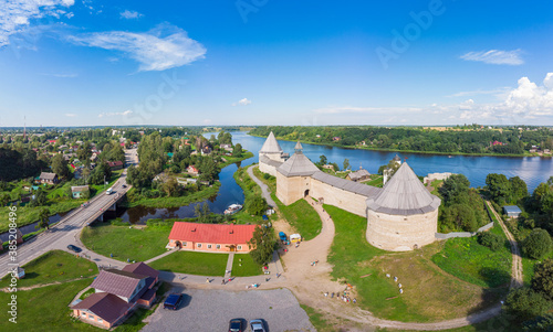 Aerial panoramic view of famous medieval fortress in Staraya Ladoga at sunset Fototapeta