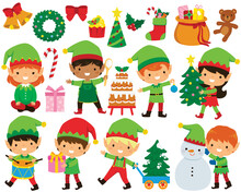 Christmas Elves Clipart Set. Cute Santa's Elves In Different Poses And A Collection Of Christmas Illustrations.