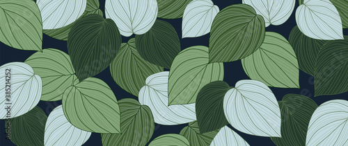 Fototapety, obrazy: Hand drawn leaves line arts Vector  background, Abstract leaf pattern, Autumn wallpaper, Tropical leaves design for fabric, Wrapping paper, prints, Vector illustration.