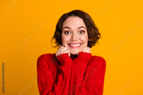 Closeup photo of funny excited lady good mood toothy smile hands under cheeks short bob hairdo wear casual red knitted sweater isolated vivid bright yellow color background
