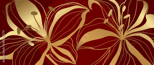 luxury gold floral line art wallpaper vector. Exotic botanical background, Lily flower vintage boho style for textiles, wall art, fabric, wedding invitation, cover design Vector illustration..
