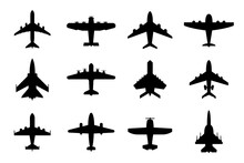 Collection Of Airplane Silhouettes. Commercial And Military Planes. Isolated On White. Aircraft Set For Your Design