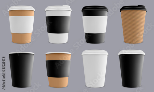 Obraz Realistic coffee cup. Paper cardboard coffee cups, cafe or restaurant 3d paper coffee disposable cups mockup isolated vector illustration set. Drink to go, blank mug for brand identity - fototapety do salonu