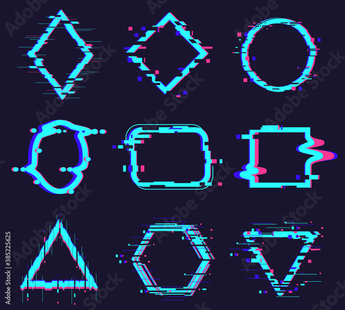 Glitch damage frames. Distortion abstract figures, geometry glitch noise defect frame, square, circle, triangle elements vector illustration set. Digital noise defect isolated icons