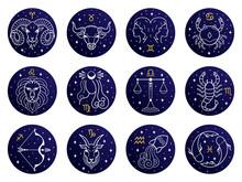 Astrological Zodiac Signs. Aries, Taurus, Leo And Gemini Horoscope, Virgo Scorpio Libra Aquarius Zodiac, Sagittarius, Pisces Capricorn Cancer Vector Symbols. Constellations On Blue