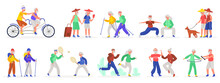Active Elderly Couples. Senior Elderly Couple, Healthy Sporty Grandmother And Grandfather, Old People Dancing And Jogging Vector Illustration Set. Characters Riding Bicycle, Exercising, Walk With Pet