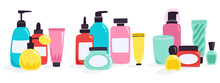 Cosmetic Bottles. Plastic Containers And Tubes, Organic Cosmetic, Cream Jar, Dropper And Dispenser, Face Care Products Vector Illustration Set. Toiletries An Perfume Bottle, Nail Polish