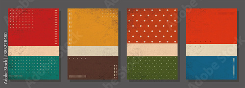 Fototapeta Set of retro covers. Cover templates in vintage design. Abstract vector background template.Retro canvas. Retro design templates set for brochures, posters, flyers, banners, covers, placards. obraz na płótnie