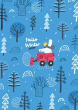 Funny Lion Rides Through The Forest On A Bulldozer. Winter Forest Landscape. Snow Removal. Winter Postcard.