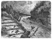 Montmorency River Violent Rapids Flow In A Night Storm, Canada. Ancient Grey Tone Etching Style Art By Huet, Le Tour Du Monde, Paris, 1861