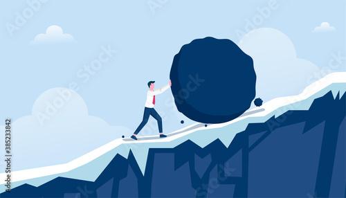 Obraz na plátně Businessman pushing heavy stone uphill vector illustration