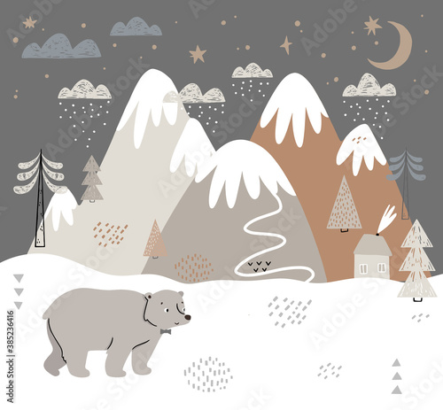 Vector illustration with bear, mountains, trees, clouds, snow, and house. Hand drawn winter illustration in Scandinavian style for kids. For textiles, postcards, baby shower, babywear, nursery.