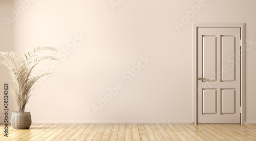 Obraz Interior background of room with vase with branch and door against beige wall 3d rendering - fototapety do salonu
