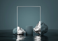 3D Background, Stone Podium, Display With Water And Rocks. Abstract Dark Blue, And Silver Pedestal With Frame. Minimal Geometric, Studio Scene For Product Presentation. Branding 3D Render