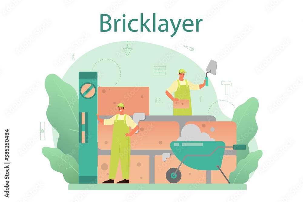 Fototapeta Bricklayer concept. Professional builder constructing a brick wall