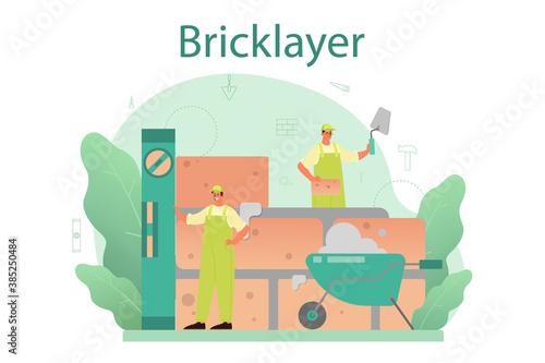Obraz Bricklayer concept. Professional builder constructing a brick wall - fototapety do salonu