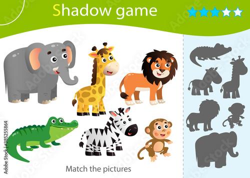 Naklejka premium Shadow Game for kids. Match the right shadow. Color images of animals of Africa. Zebra, crocodile, giraffe, monkey, lion, elephant. Worksheet vector design for children