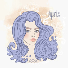 Zodiac Illustration Of Aquarius Zodiac Sign As A Beautiful Girl. Vector Art. B Vintage Boho Style Zodiac Fashion Illustration In Pastel Shades. Design For Zodiac Coloring Book Page.