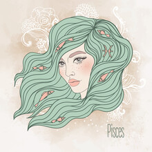 Zodiac Illustration Of Pisces Zodiac Sign As A Beautiful Girl. Vector Zodiac. Vintage Boho Style Fashion Illustration In Pastel Shades. Design For Zodiac Coloring Book Page For Adults And Kids.