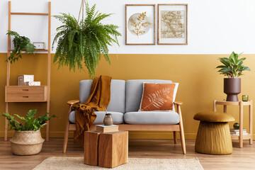 Fototapeta Boks Stylish scandinavian interior of living room with design grey velvet sofa, cube, furniture, plants, carpet, decoration and mock up poster frames. Template.