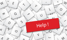 Help In White Keyboard Keys Background