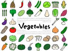 Vegetable Set: Hand Drawn Vector Illustration Like Woodblock Print