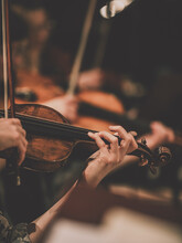 Close Frame For The Hand Of A Violinist Of A Symphony Orchestra
