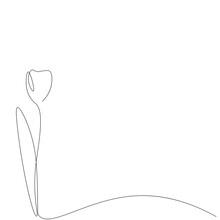 Tulip Flower Silhouette Line Drawing. Vector Illustration