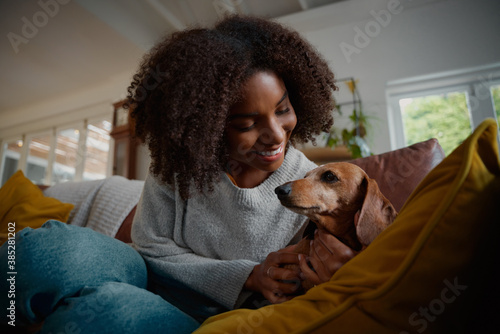 Carta da parati Smiling african woman playing with pet wiener dog at home sitting on couch