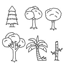 Set Of Tree Doodle Illustratio...