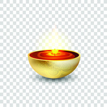 Diwali Diya - Oil Lamp. Element For Traditional Indian Festival Of Lights. 3D Realistic Style On Transparent Background. Vector Illustration.