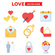 Love icon set of color types. Isolated vector sign symbols. Icon pack.
