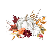Beautiful Fall White Pumpkins Arrangement On White Background. Pastel Pumpkin Decor With Red And Burgundy Leaves, Flowers, Tree Branches. Autumn Watercolor Illustration. Thanksgiving Card