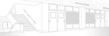 教室 廊下 階段 学校 漫画風背景素材
