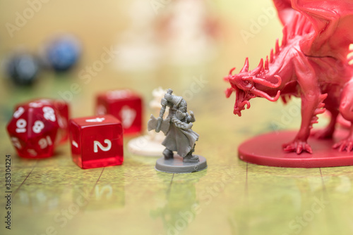 Detail of two miniatures on the battlefield of the role-playing game of dungeons and dragons.