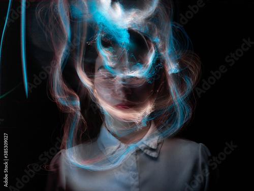 Papel de parede lightpainting portrait, new art direction, long exposure photo without photoshop