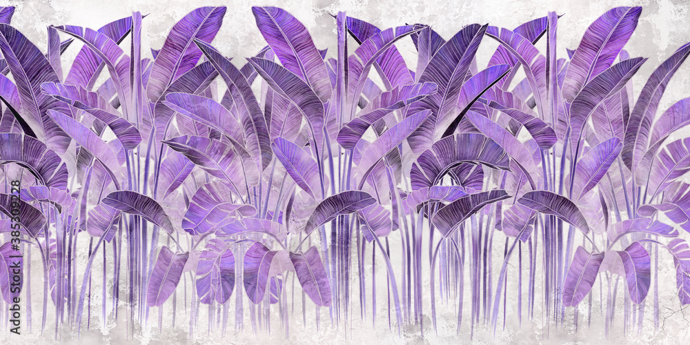 Violet tropical leaves on grey concrete background. Great choise for mural, card, postcard, wallpaper and photo wallpaper. Design for modern and loft interiors.