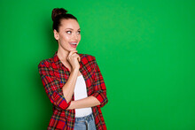 Turned Photo Of Positive Cheerful Girl Touch Chin Fingers Look Copyspace Think Thoughts Enjoy Summer Holiday Plan Wear Checked Shirt Isolated Over Shine Color Background