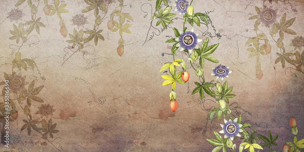 Painted tropic flowers on brown textured concrete wall. Passiflora flowers. Stunningly beautiful, vintage, modern wall murals, wallpaper, photowallpaper, cover, postcard on an concrete background.