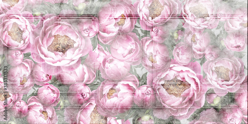 Flowers painted on a concrete wall. Peonies on the wall grunge texture. Photo wallpaper, wallpaper, mural, card, postcard design.