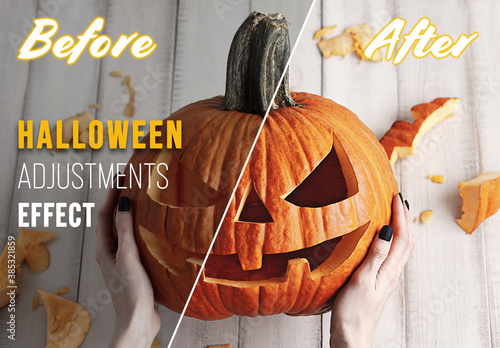 Obraz Halloween Adjustments Effect Mockup - fototapety do salonu