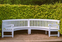 White Bench In Park