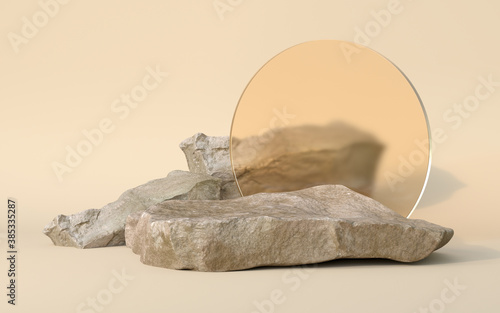 Fotografía 3d rendering of Podium stone and Plant.