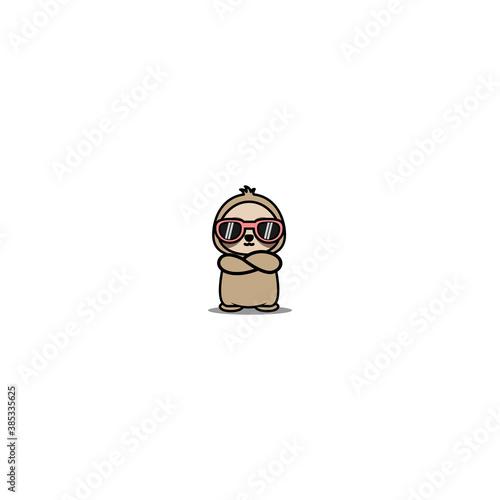 Naklejka premium Cute sloth with sunglasses crossing arms cartoon, vector illustration