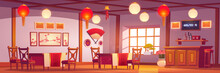 Chinese Restaurant Interior, Empty Cafe In Traditional Asian Style With Red And Gold Decor, Lanterns, Sakura Pictures, Cashier Desk, Cafeteria With Wooden Tables And Chairs Cartoon Vector Illustration