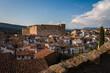 Mora de Rubielos city skyline with a view of the historical buildings, Teruel, Spain