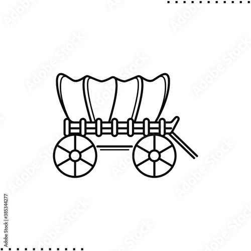 Covered wagon,  Jessie western or  prairie schooner vector icon in outline Wallpaper Mural