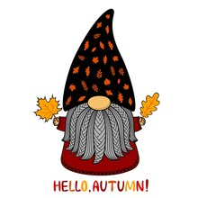 Autumn Cute Cartoon Gnome. Vector Illustration. Funny Character In A Hat Made Of Leaves And Text. Isolated On White Background. For Postcards, Flyers, Printing On T Shirt, Invitations, Paper Cutting .