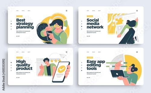Obraz Set of Presentation slide templates or landing page websites design. Business concept illustrations. Modern flat style. - fototapety do salonu